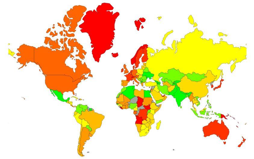 Karte der Lebenshaltungskosten und Durchschnittspreise.